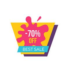 -70 off best sale label on vector image