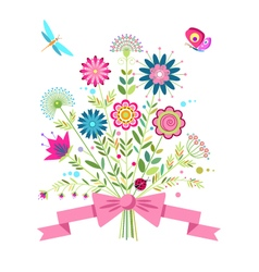 a bouquet of flowers butterfly dragonfly and ladyb vector image