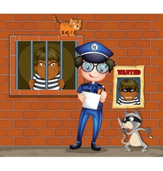 A policeman holding a pen and a paper with two vector image