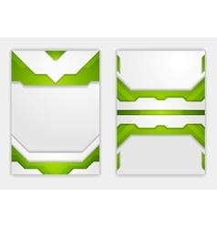Abstract green geometric tech flyer design vector