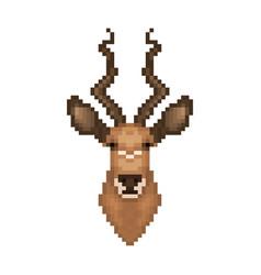 Antelope head in pixel art style vector