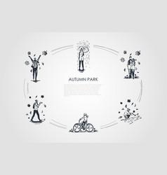 autumn park - walking in rain with umbrella vector image