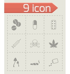black drugs icon set vector image