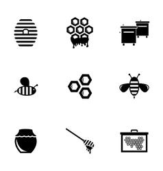 Black honey icons set vector