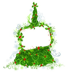 Blank sign on Christmas tree vector image