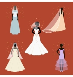 Bride set icons in cartoon style big collection vector