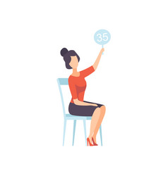 Businesswoman bidding in public auction house vector