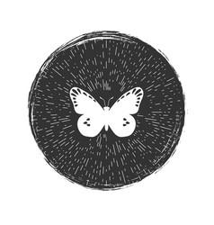 butterfly grunge hipster emblem vector image