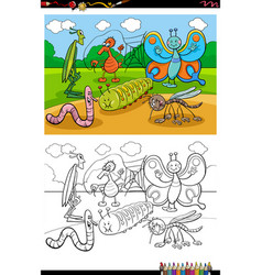 cartoon funny insects and bugs group coloring vector image
