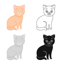 Cat icon in cartoon style isolated on white vector
