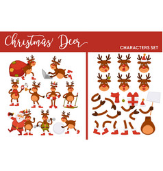 christmas deer character set winter holiday animal vector image
