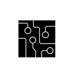 Circuit board technology icon black on white vector