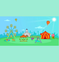 Circus horizontal banner landscape cartoon style vector