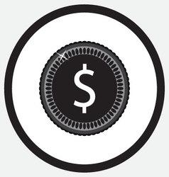 Coin black white monochrome icon vector image
