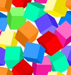 Colorful 3D blocks in a seamless pattern vector