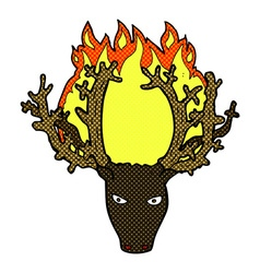 comic cartoon stag head fire symbol vector image