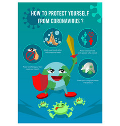 Coronavirus precaution tips with earth globe vector