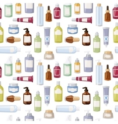 Cosmetics bottles seamless pattern vector