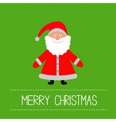 Cute Santa Claus Green background Merry Christmas vector image