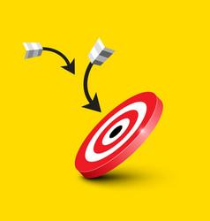 dart target - bullseye with darts - arrows on vector image