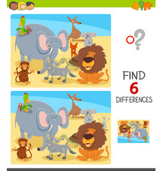 differences game with cartoon animal characters vector image