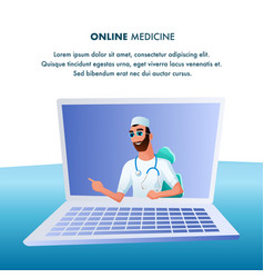 Doctor with stethoscope consult patient online vector