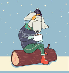 dog in winter warm sweater and with cup of hot vector image