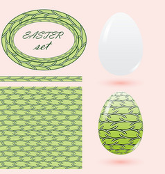 easter set in green tones with eggs seamless vector image