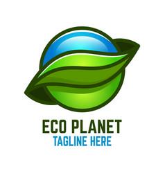 Eco planet logo vector