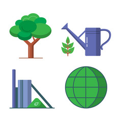 ecology icons set in flat style vector image