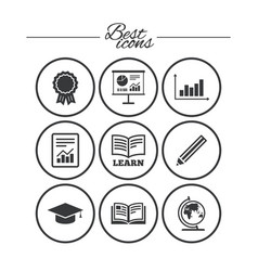 education and study icon presentation signs vector image