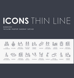 Emigration thin line icons vector