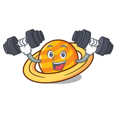 Fitness planet saturnus character cartoon vector