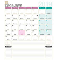 french calendar - december 2019 vector image