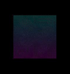 Glitched square small dots in neon vivid colors vector