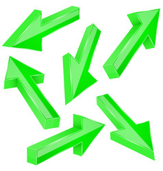 green 3d arrows set of shiny straight signs vector image