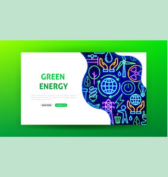 Green energy neon landing page vector