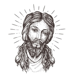 hand-drawn portrait jesus christ sketch vector image