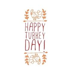 Happy turkey day - typographic element vector