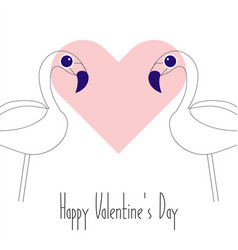 happy valentine s day pair of flamingo vector image