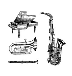 Jazz classical wind instruments musical saxophone vector