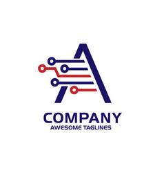 letter a tech logo vector image