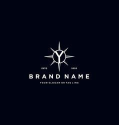 Letter y compass logo design vector