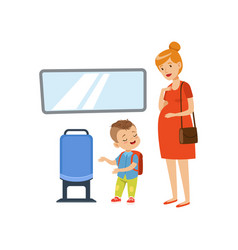 Little boy giving way to pregnant woman in public vector
