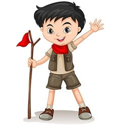 Little boy holding a walking stick vector