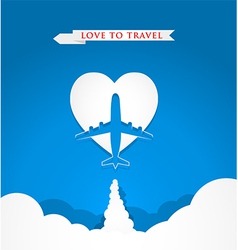 Love travel concept with airplane on heart shape vector