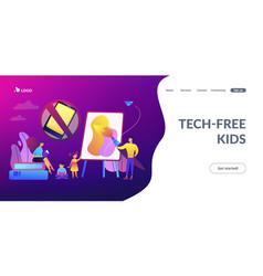 Low tech parenting concept landing page vector
