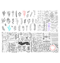 mega set hand drawing page dividers borders and vector image