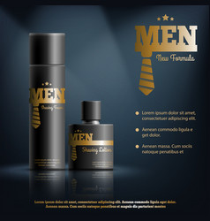 Mens shaving cosmetics realistic composition vector