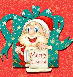 Merry Christmas poster with Santa vector image